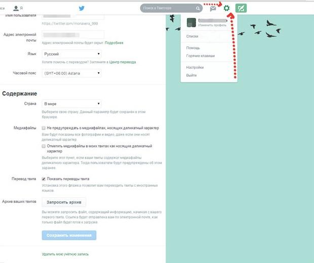 Скриншот меню настроек в Твиттер