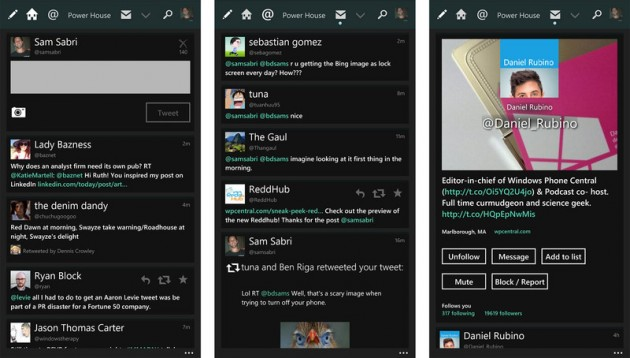 Интерфейс клиента Tweetium для МОС Windows Phone