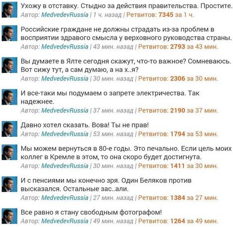 Твиты, оставленные на странице российского премьера после взлома страницы
